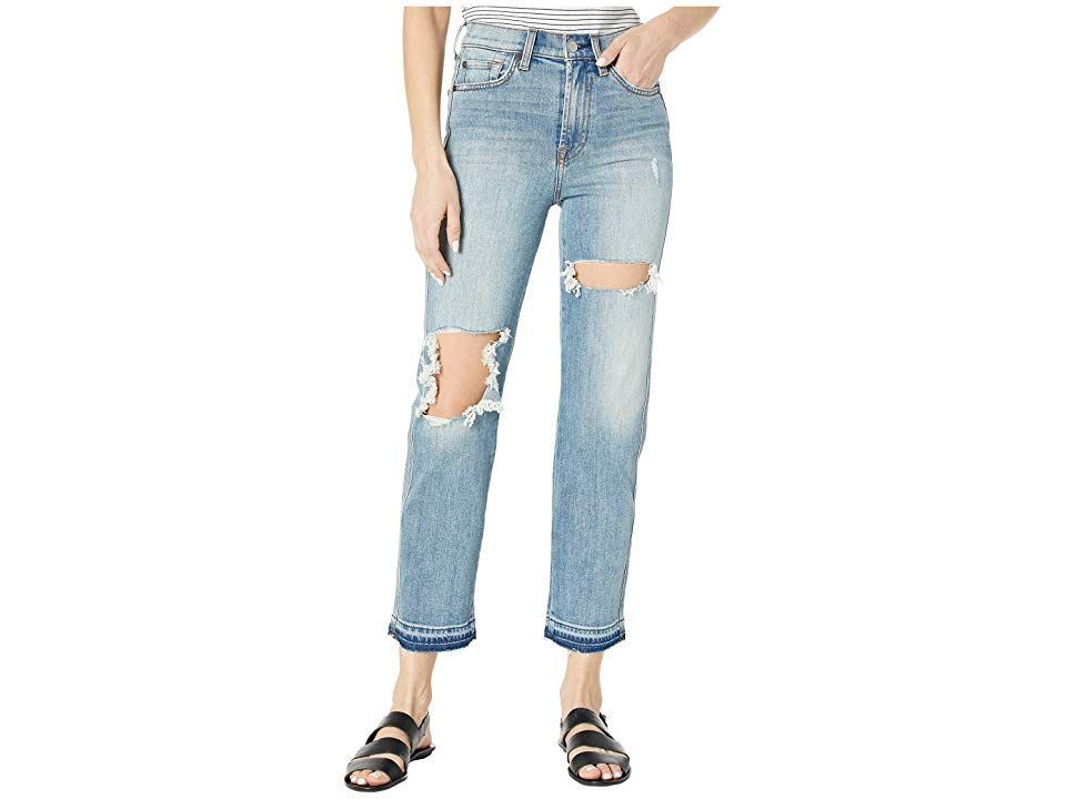 7 For All Mankind High Waist Cropped Straight In Topanga Women S
