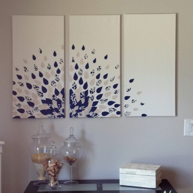 DIY wall art - neat idea, need a background color other than white, with bright colors for peacock feather.  will try this one!