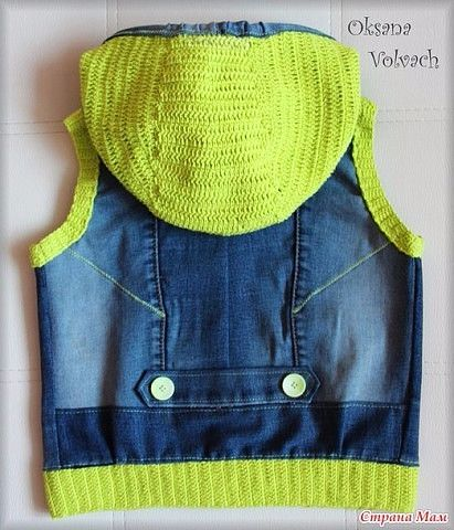 Recycled jeans with crochet edges and hood