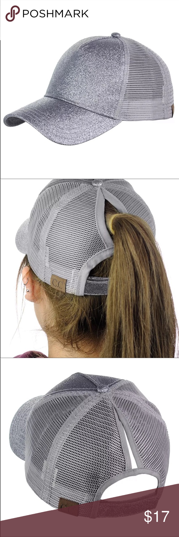 Silver High Pony Tail Lessy Bun Baseball Cap Hat Boutique Accessories Caps Hats Hats