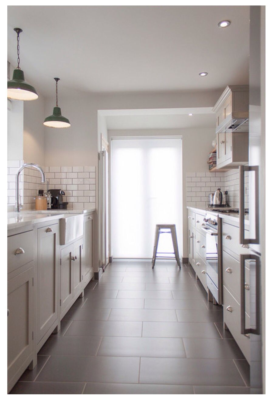 White and gray kitchen. Subway tiles, shaker cabinets, 12 x 24 tiles ...