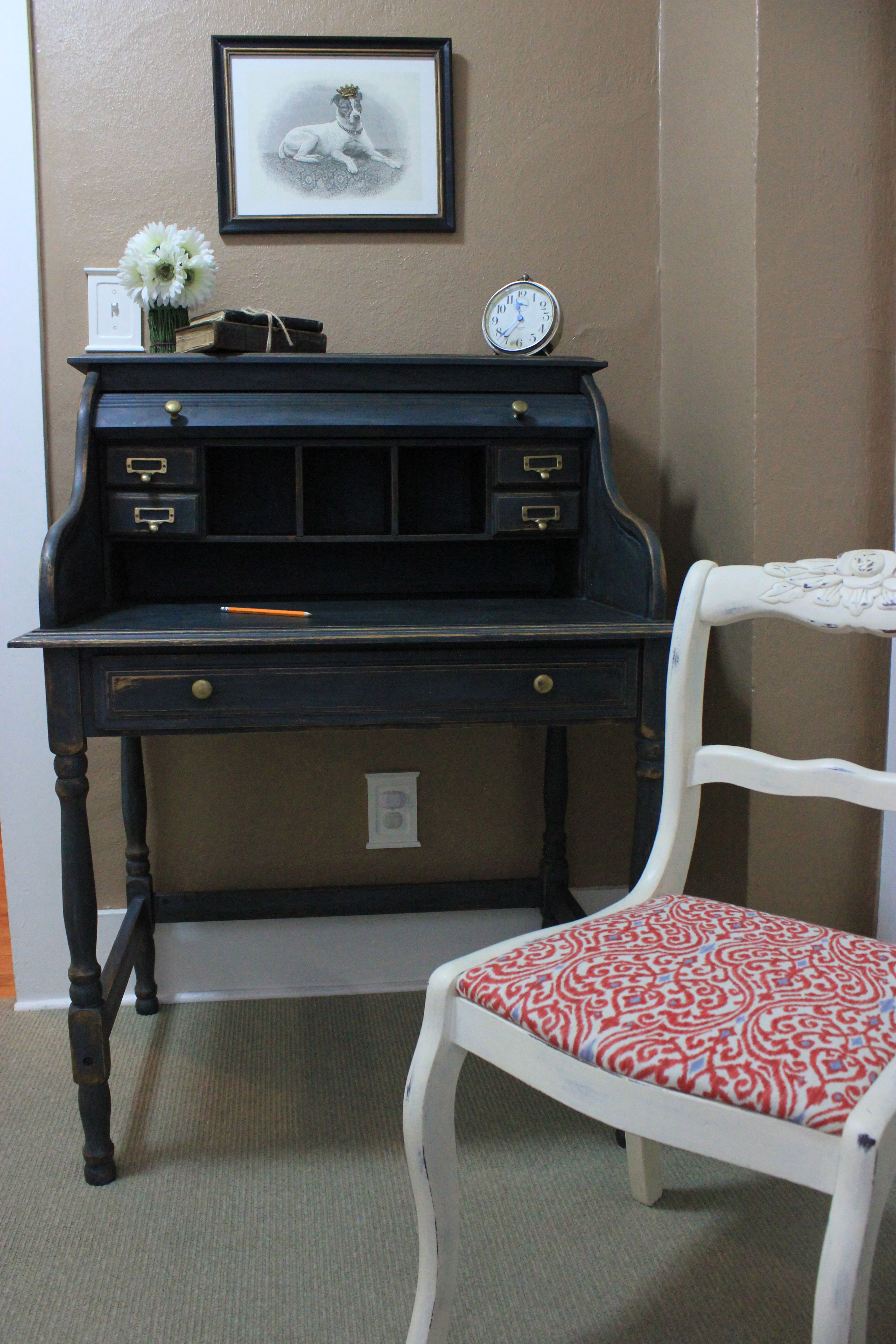 The antique secretary desk i painted with artissimo milk paint now