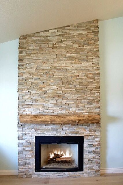 Dry Stacked Stone Fireplace With Raw Edge Cypress Mantel Stacked