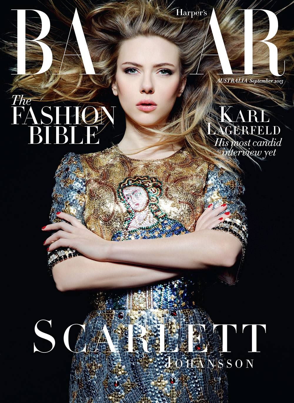 Scarlett Johansson in Dolce  Gabbana, photographed by Karl Lagerfeld for Harpers BAZAAR Australia, Sep 2013. one of her best shot!