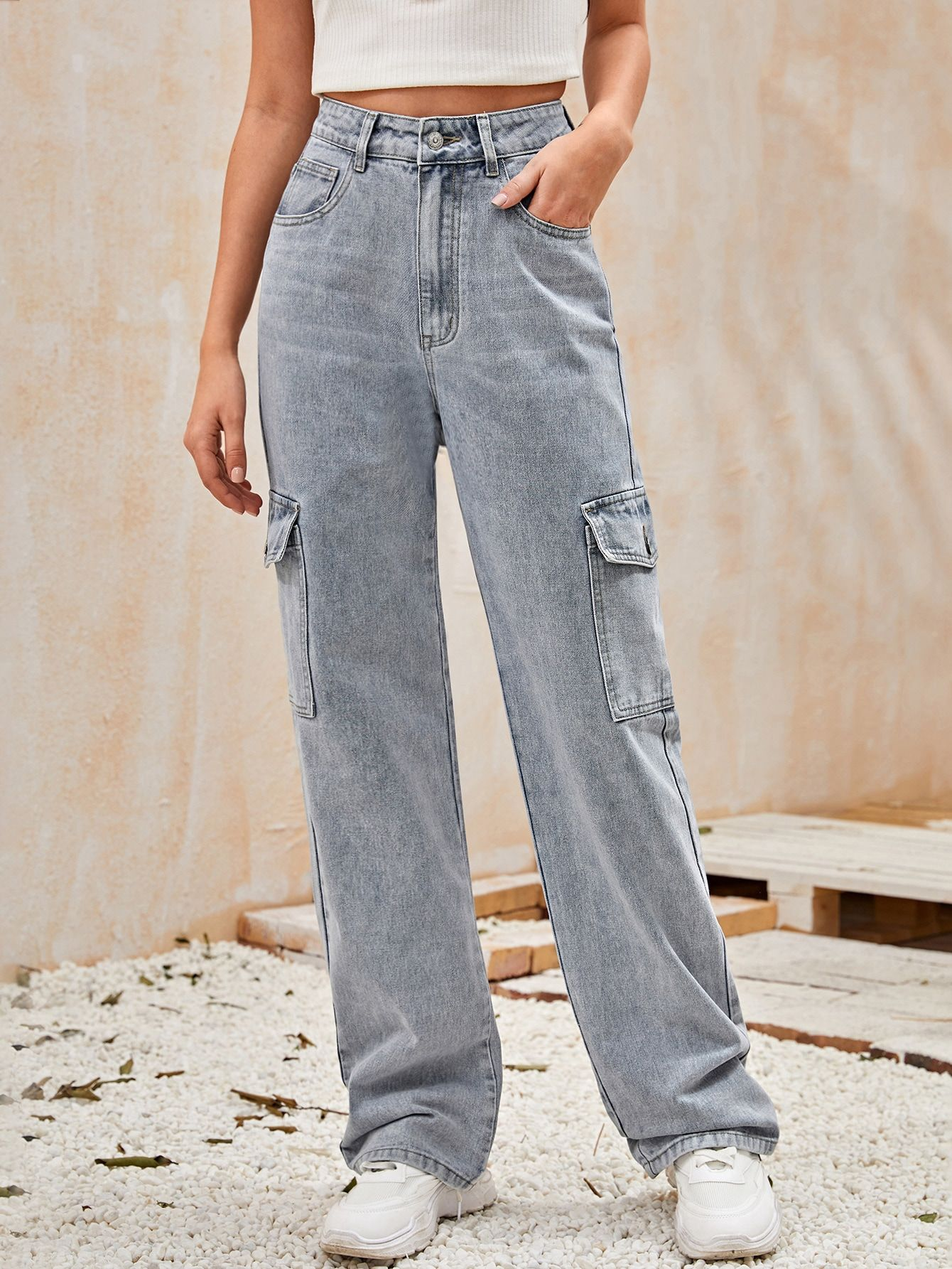 Black Friday 2020 High Waisted Flap Pocket Side Baggy Jeans Shein Usa In 2020 Baggy Jeans Cargo Jeans Shein Outfits