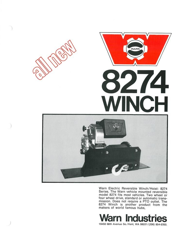 a vintage ad for the warn 8274 winch from about 1974  [ 800 x 1035 Pixel ]