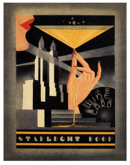 The Starlight Roof Waldorf Astoria Hotel Art Deco Posters Art Deco Artwork Art Deco Illustration