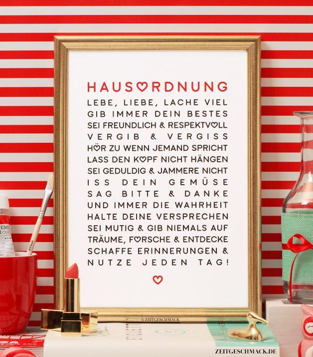 Unique Wanddeko Liebevolle Hausordnung Bild Poster Druck ein Designerst ck von Zeitgeschmack bei DaWanda