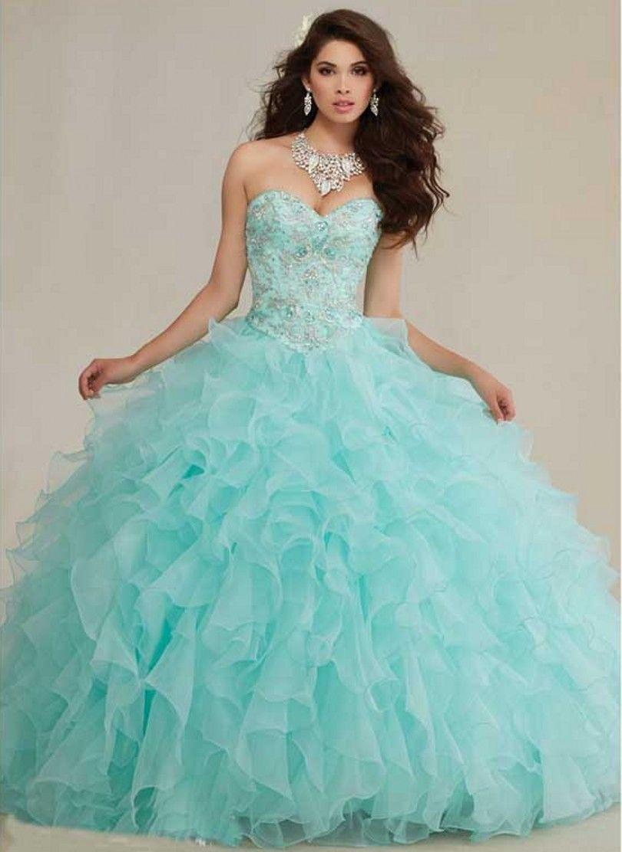 Mint Green 2017 Quinceanera Dresses Masquerade Dress Long Sweet 16 ...