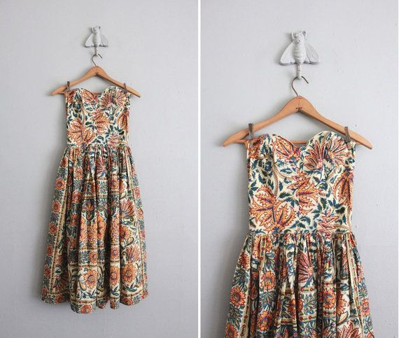 1950s Strapless French Country Dress