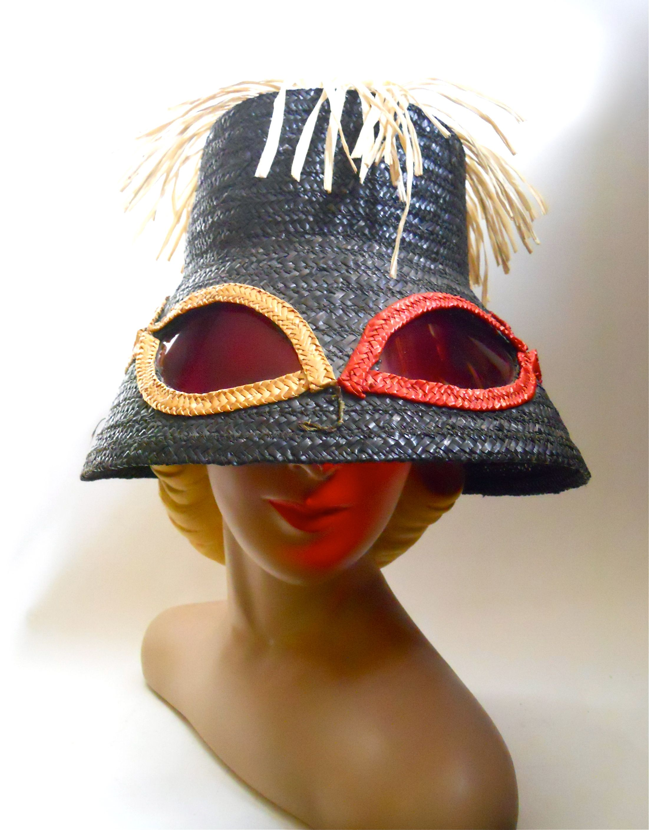 1960s beach hat with built in sunglasses and raffia