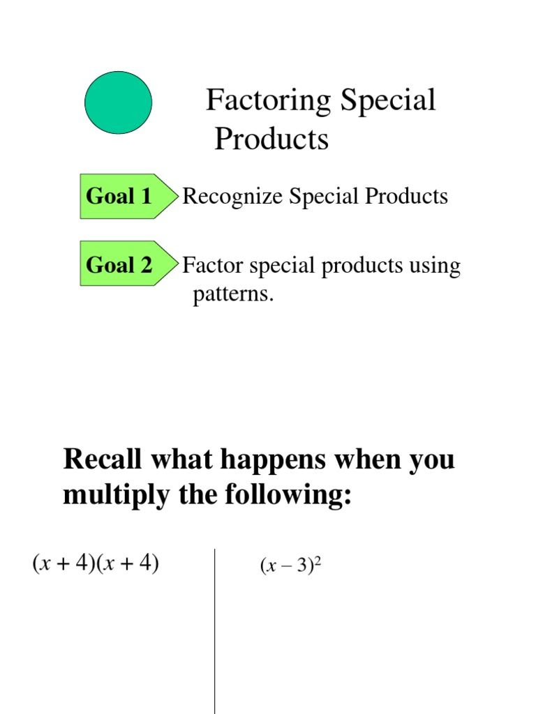 2 1 Factoring Special Products Math 8 Algebra Powerpoint Presentation