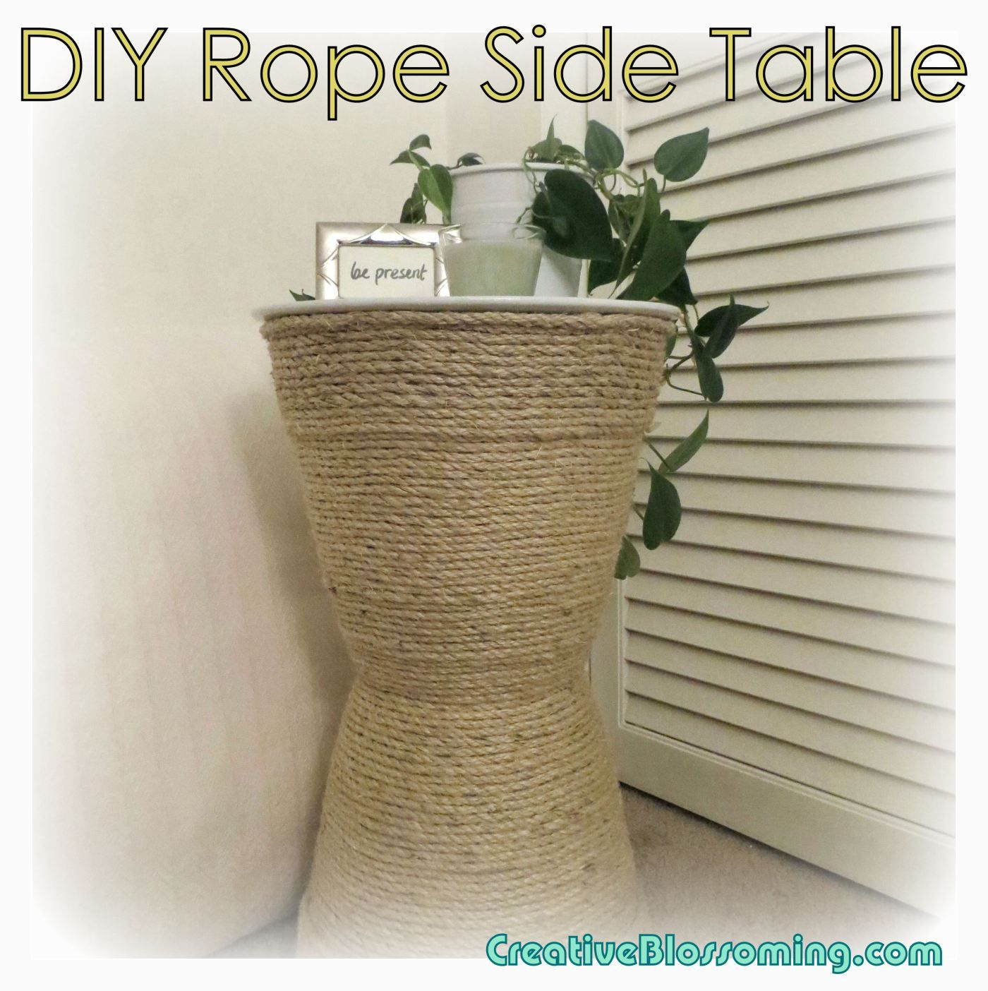Diy Sisal Rope Side Table Planters Pots White Natural