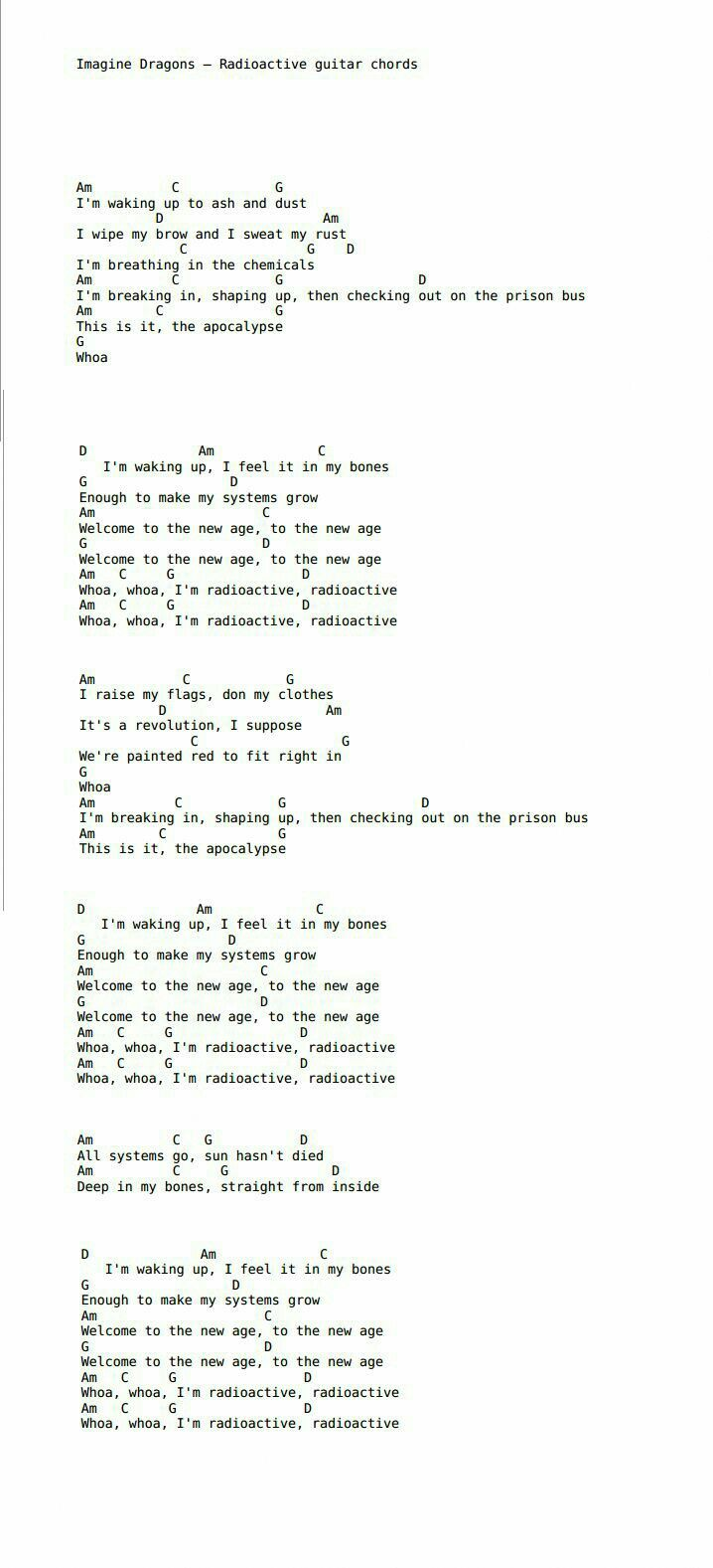 Imagine Dragons Radioactive Guitar Chords Ukulele Chords Songs Ukulele Songs Guitar Chords For Songs