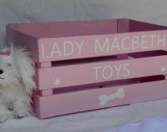 Personalized Dog Toy Box Dog Toy Box Pink Dog Toy Box Wooden