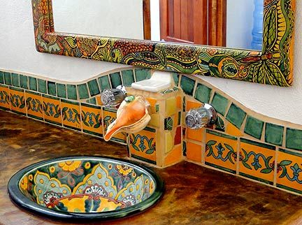 Charming Hand Painted Framed Mirror, Talavera Tile, Whelk Shell Faucet, Talavera  Hand Painted Sink, Mosaic Floors And Hand Crafted Light Fixtures.