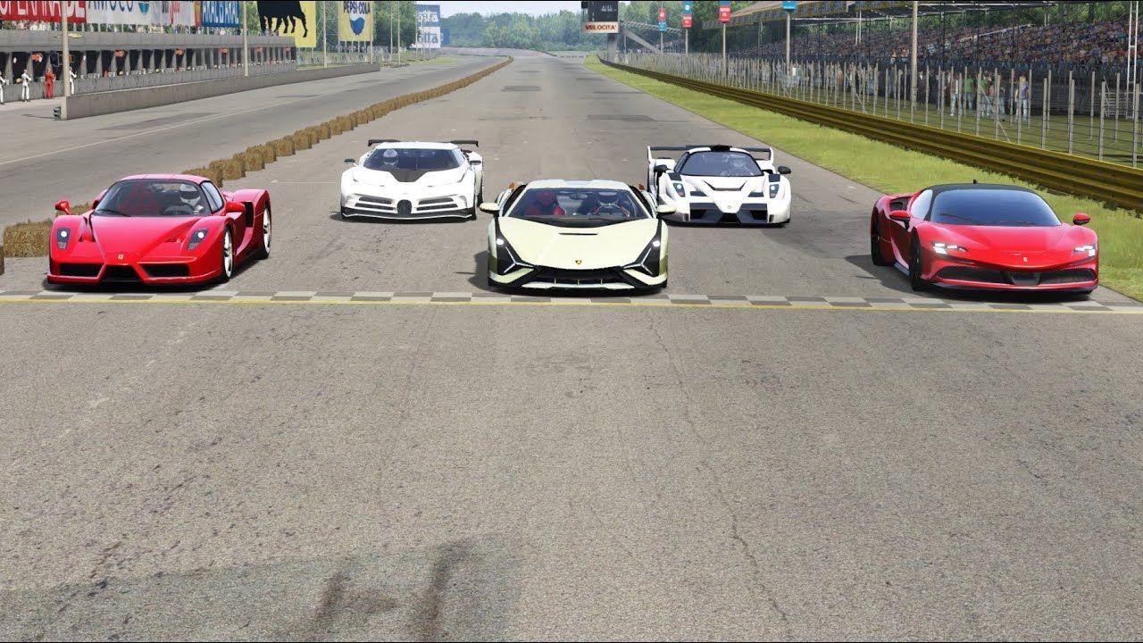 Bugatti Centodieci Vs Ferrari Sf90 Stradale Vs Lamborghini Sian Vs Ferra In 2020 Bugatti Racing Simulator Amazing Cars