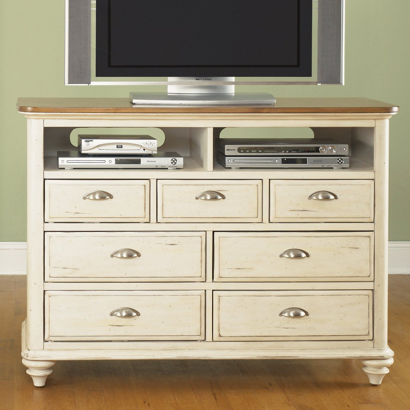 Liberty Furniture 303-BR45 Ocean Isle Media Chest TV Stand, Rubbed ...