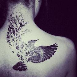 B&W, inked, back tattoo, tattooed, crow, wings, tree.
