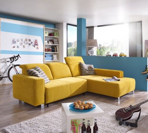 Ultsch Polstermöbel - Sofa Lotus mit Schlaffunktion Stoff gelb - wohnzimmer ideen für kleine räume