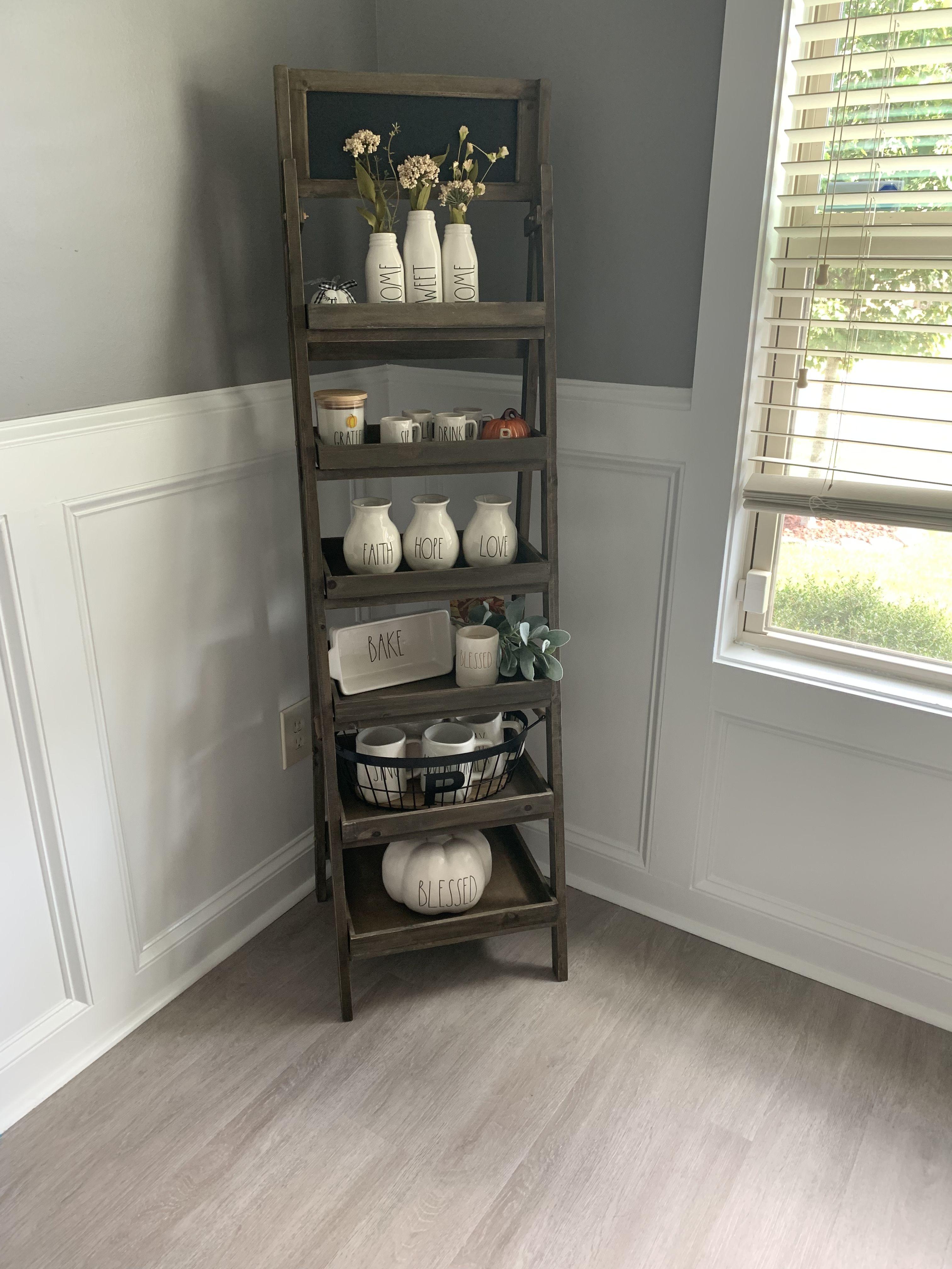 Hobby Lobby Shelf With Rae Dunn Display Bookshelves In Living Room Kitchen Decor Hobby Lobby Shelves