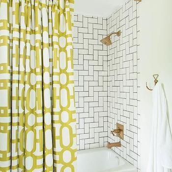 Bathroom with Yellow Shower Curtain, Contemporary, Bathroom ...