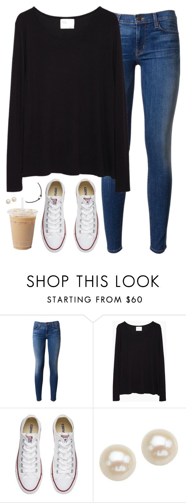"""""""Black and converse"""" by aweaver-2 on Polyvore featuring Hudson, La Garçonne Moderne, Converse and Honora"""