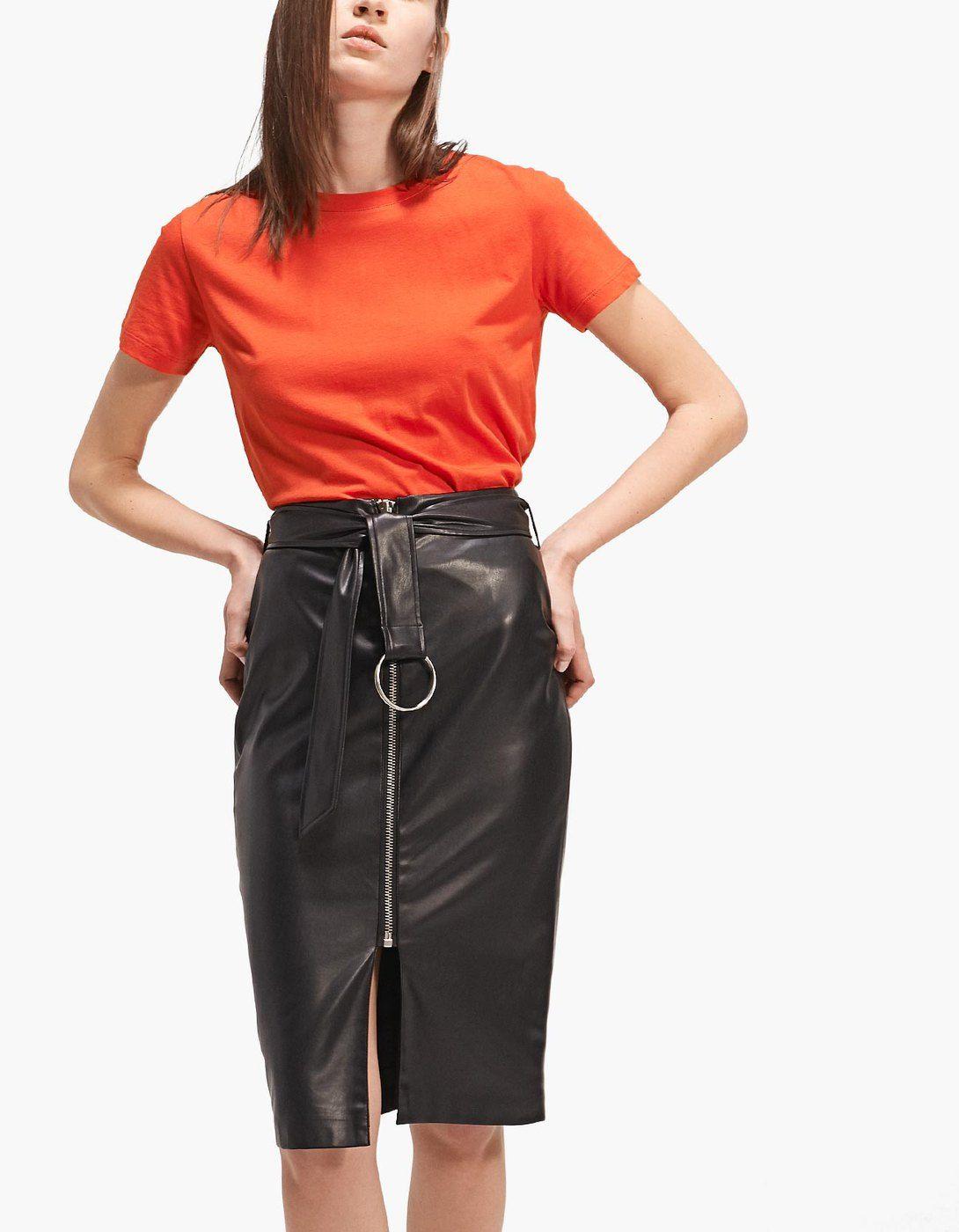Falda tubo zipper efecto piel Faldas | Stradivarius España