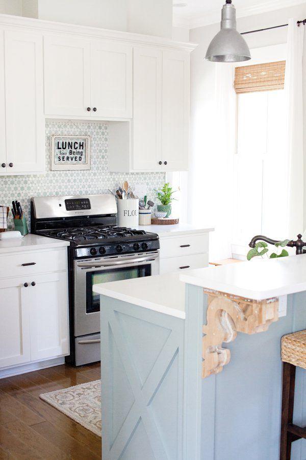 the lettered cottage farmhouse kitchen heather gray island sunflower tile backsplash on farmhouse kitchen grey cabinets id=51256