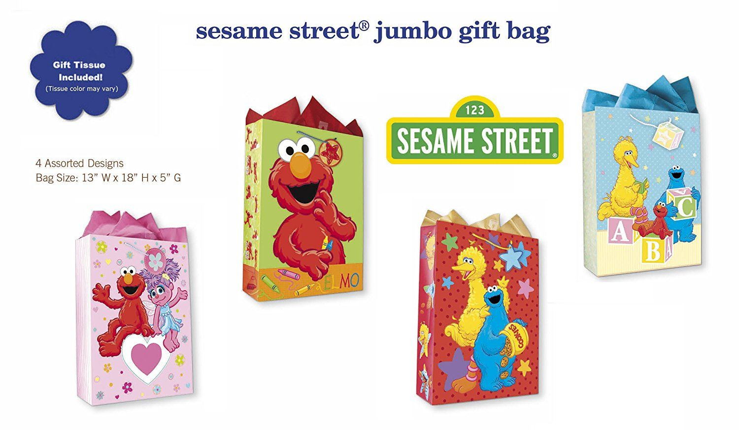 Sesame Street All Occasion Birthday Party Gift Bags Set Of 4 Extra Large Jumbo W Elmo Cookie Monster Big Bird Abby Cadabby Tags
