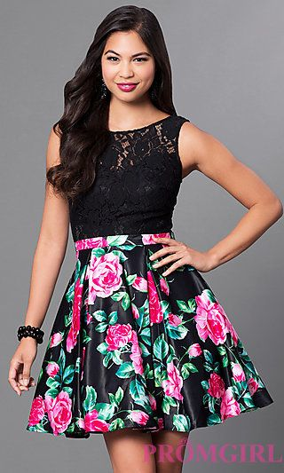 8aa437c02d Short Lace-Bodice Party Dress with Floral-Print Skirt in 2019 | Prom ...