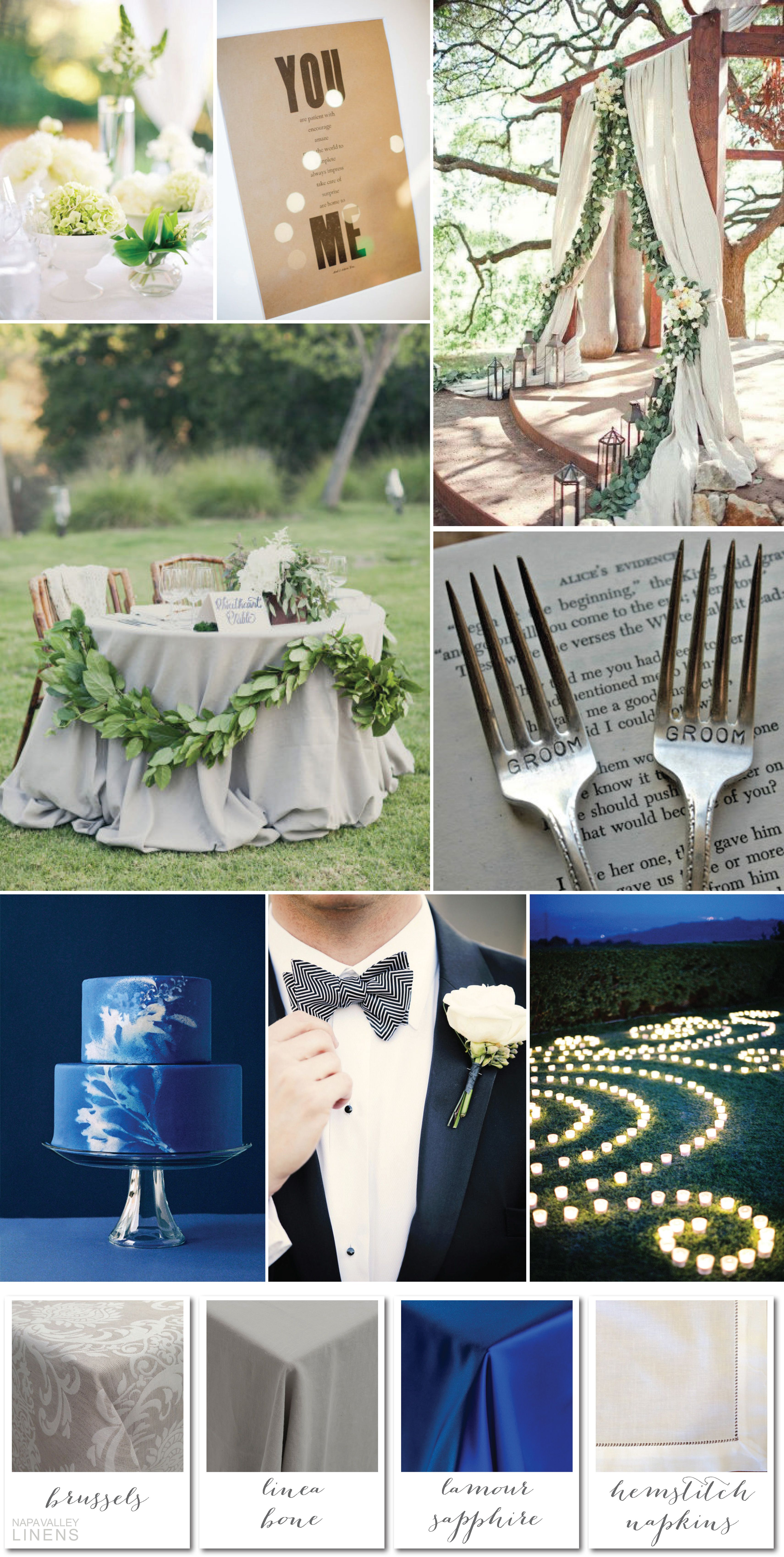 elegant same sex wedding ideas in linen and sapphire blue