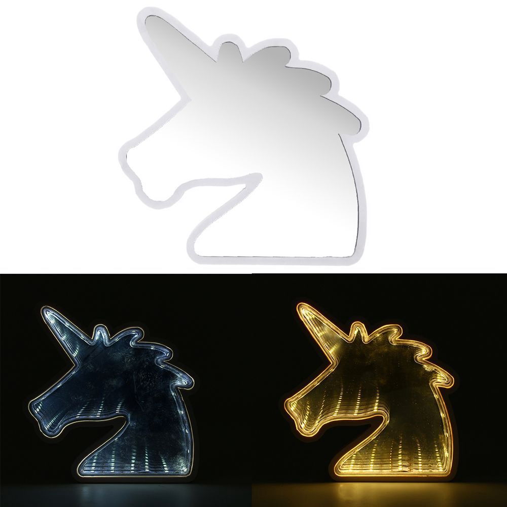 Wholesale Price Free Shipping Led Mood Lights Creative Cute Unicorn Mirror Lamp Led Tunnel Night Light For Kid Atmosphe Mirror Lamp Cute Unicorn Night Light