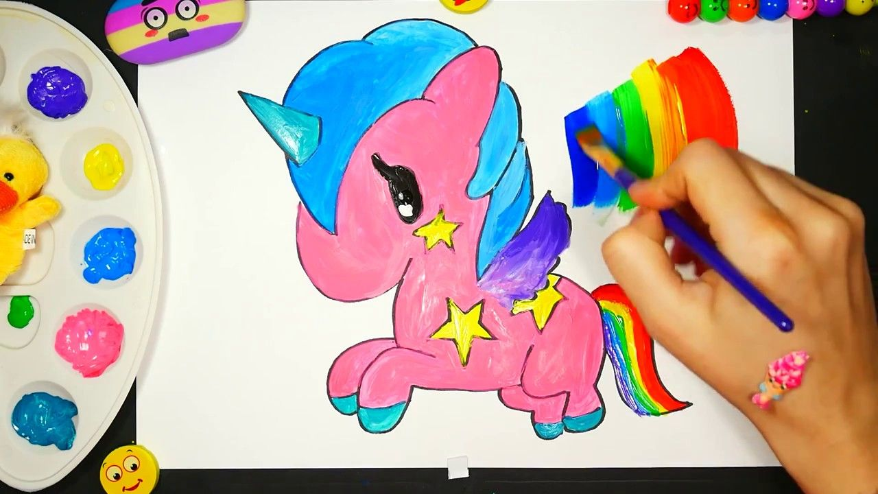 Coloring for Kids with Colored Unicorn-Colouring Book for ...