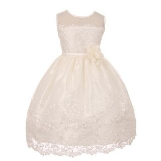 c4a5f610d34 Shop for Good Girl Girls Off-White Mesh Embroidered Junior Bridesmaid Dress.  Get free delivery at Overstock.com - Your Online Children s Clothing Outlet  ...