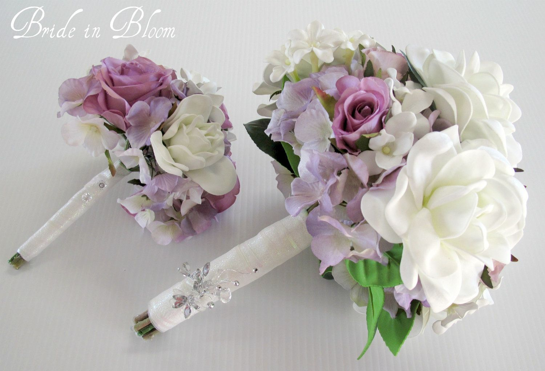 Wedding bouquet set white gardenia lavender rose bridal bouquet silk ...