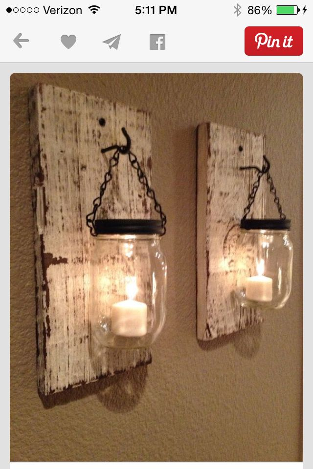 Mason jars, planks of wood makes great lighting