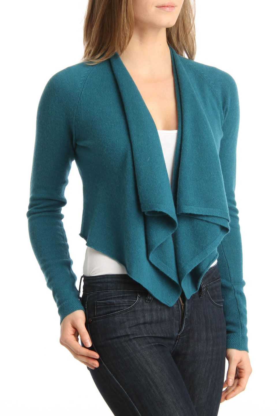 Lauren Hansen Ruffle Cashmere Cardigan In Turquoise | All things ...