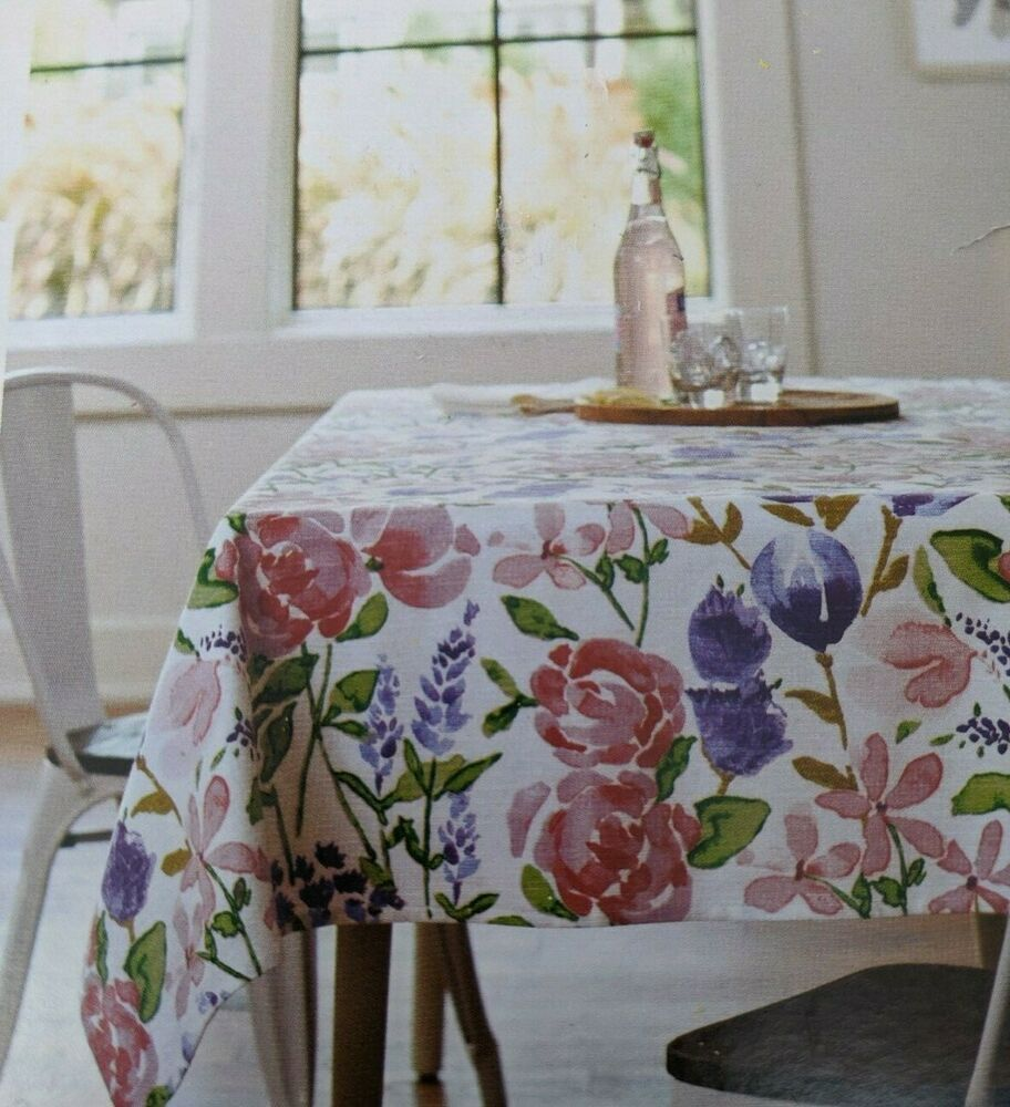 Threshold Oblong 60x104 Tablecloth Blue And Blush Floral New Farmhouse Table Threshold Farmhouse Farmhouse Table Table Cloth Farmhouse Table Plans