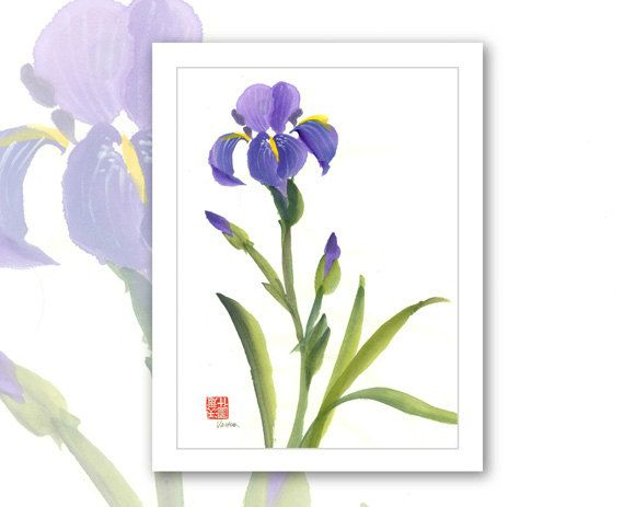 Watercolor Flowers And Paint Brushes: Watercolor Chinese Brush Painting Cards Iris By Vartus On