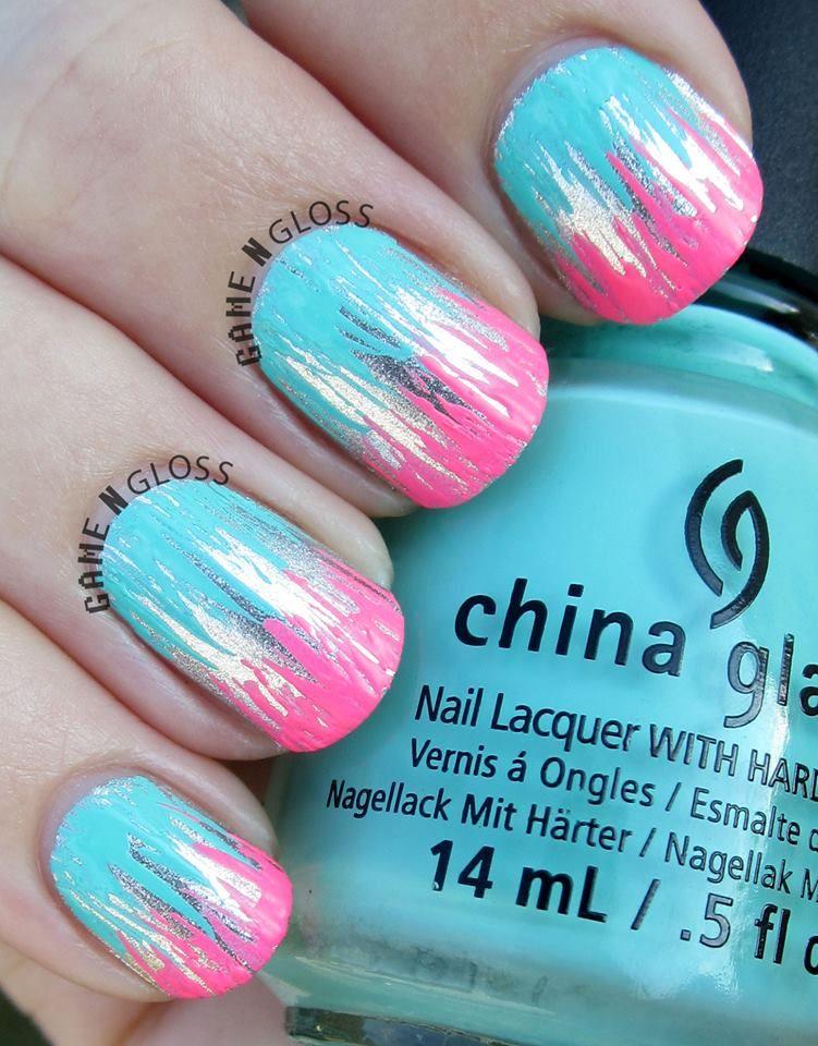 Metallic and neon nail polish design for summer - IG gamengloss FB ...