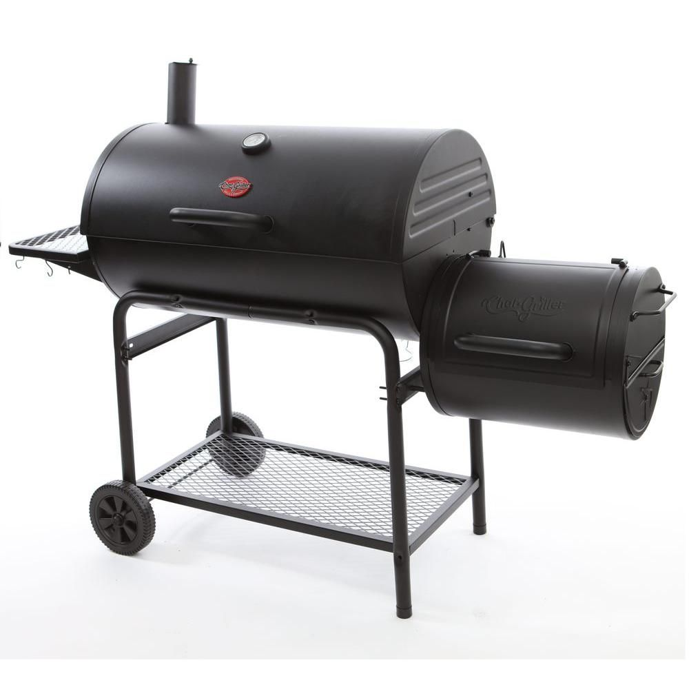Char Griller Smokin Champ Charcoal Grill Horizontal Smoker In Black 1624 Outdoor Bbq Grill Charcoal Bbq Grill Charcoal Bbq