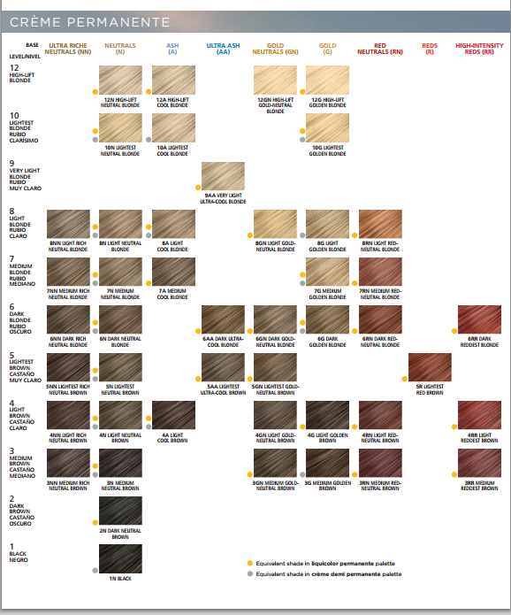 Clairol Professional Creme Soy4plex Color Shade Chart Clairol Hair Color Chart Clairol Hair Color Hair Color Chart