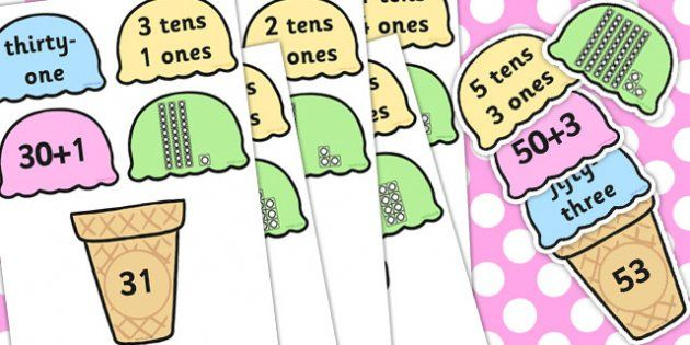 place value ice cream cone matching activity tens and ones place value activities tens ones. Black Bedroom Furniture Sets. Home Design Ideas