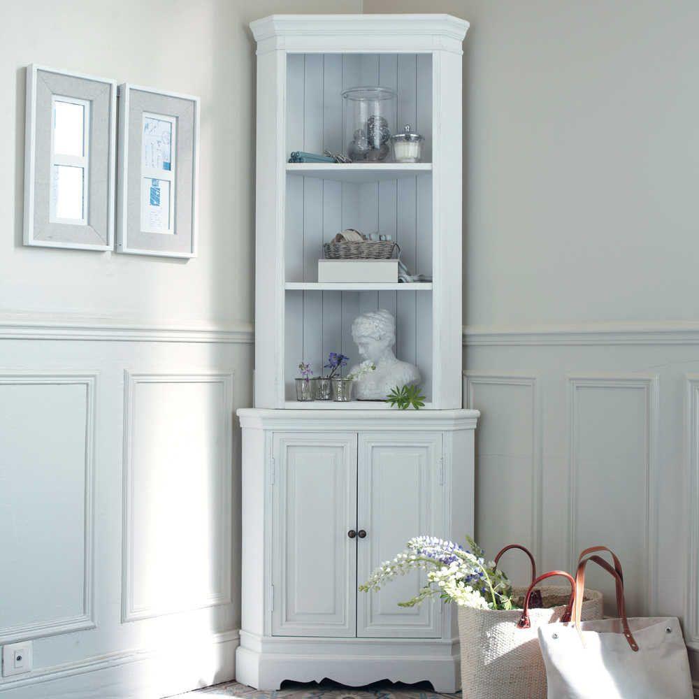 Meuble d\'angle en bois de paulownia blanc L 73 cm | Meuble patiné ...