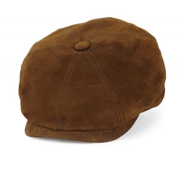 Cognac Brown Indie Suede Baker Boy Cap  07116e11adf8