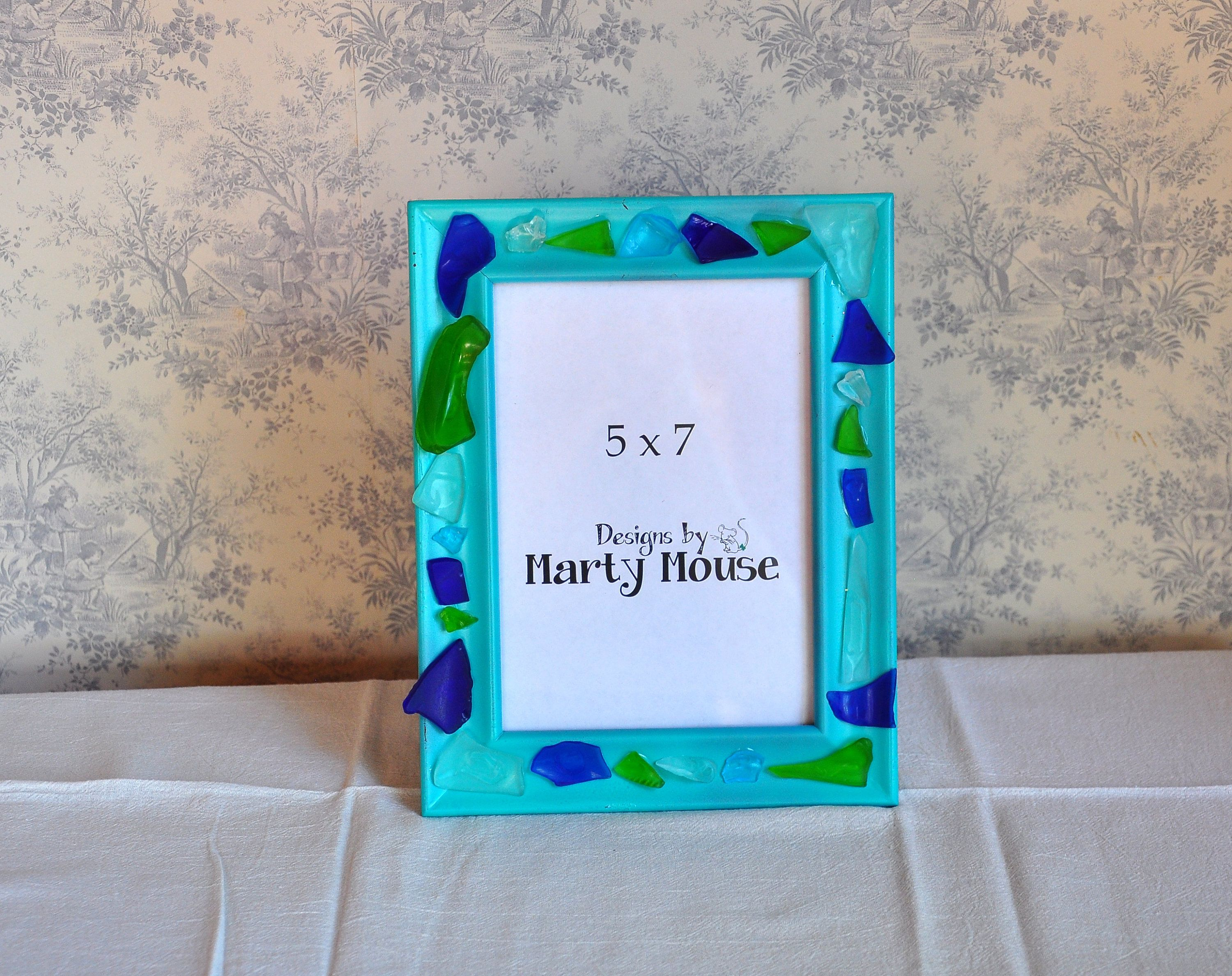 Beach Picture Framepicture Frame5x75x7 Frametumbled Glass Frame