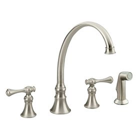 Revival Vibrant Brushed Nickel 2 Handle High Arc Kitchen Faucet