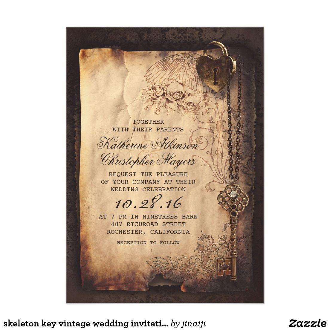 Old Skeleton Key Vintage and Gothic Wedding Card | Vintage wedding ...