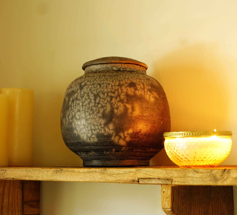Naked Raku Pottery Vase, 8\